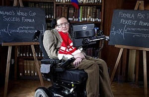 Hawking provided two multi-term equations intended to predict the England football teams chances of future success.